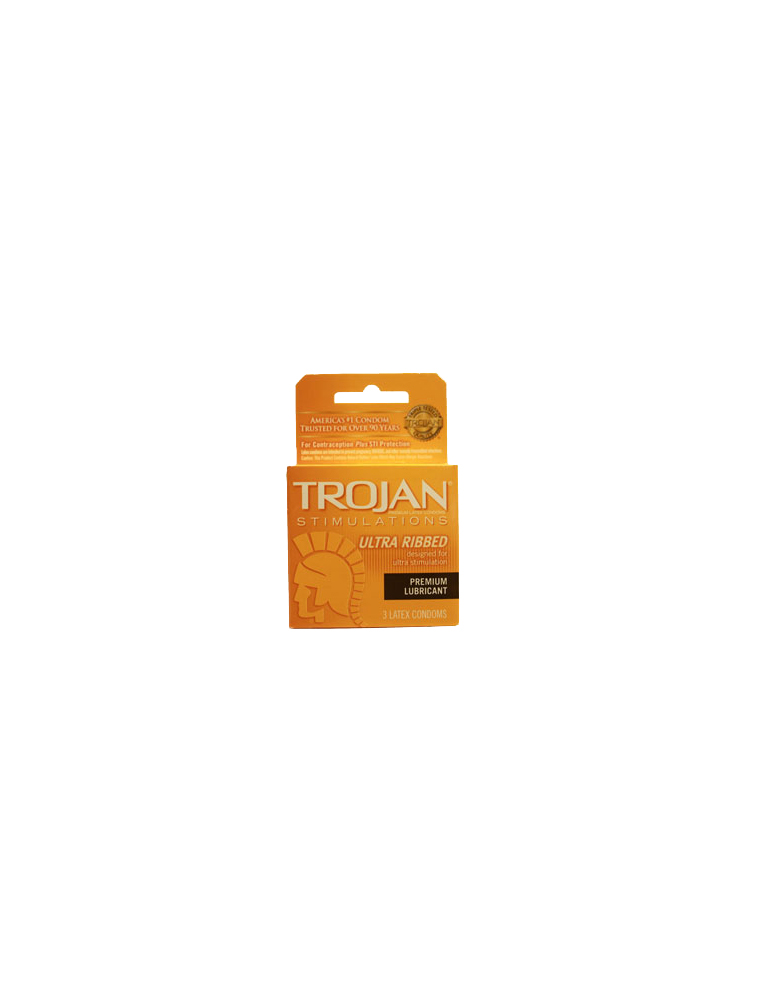 Trojan Stimulations Ultra Ribbed Premium Lubricant Latex Condoms 3 Ct