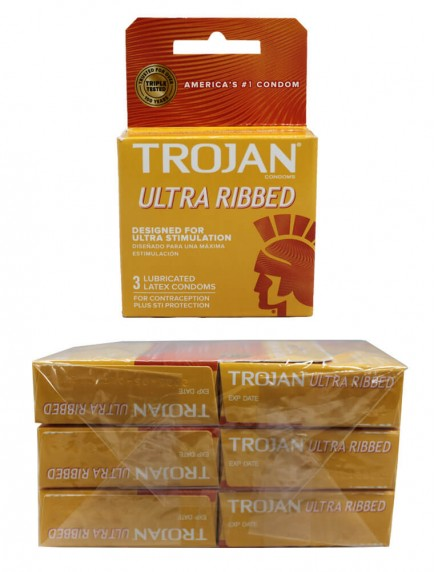 Trojan Ultra Ribbed Lubricated Latex Condoms 6 pks of 3 Condoms