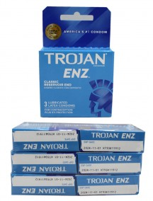 Trojan ENZ Lubricated Latex Condoms - Classic Reservoir End 6 pks of 3 Condoms