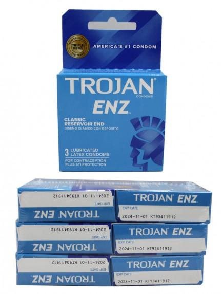 Trojan ENZ Lubricated Latex Condoms - Classic Reservoir End 6 pks of 3 Condoms