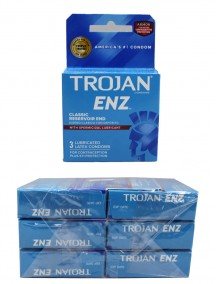 Trojan ENZ Lubricated Latex Condoms with Spermicidal Lubricant - Classic Reservoir End 6 pks of 3 Condoms