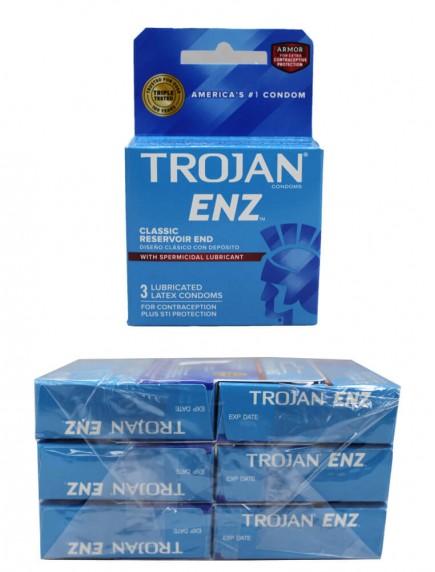 Trojan ENZ Lubricated Latex Condoms with Spermicidal Lubricant - Classic Reservoir End 6 pks of 3 Condoms