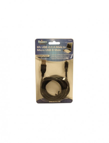 Uninex 6 ft USB 2.0 A Male to Micro USB B Male