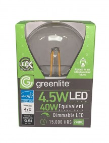 Greenlite G25 Globe Clear Filament Style Vanity Bulb LED Medium Base 4.5w/40w