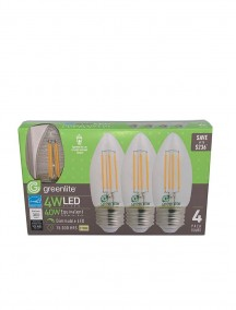 Greenlite Clear Torpedo Filament Style LED B10 Chandelier Bulb Medium Base 4w/40w 4 pk