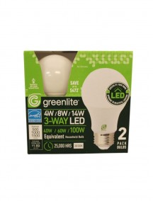 Greenlite 3-Way LED Bulb 4w/8w/14w 2 pk