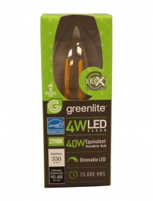 Greenlite Clear Filament Style Clear Torpedo LED Chandelier Bulb 4w/40w 1 ct