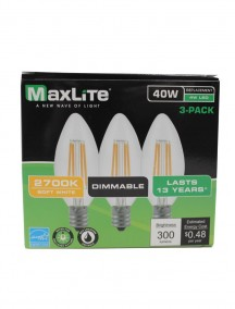 Maxlite LED B10 4w/40w 3 pk Dimmable Light Bulbs