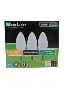 Maxlite LED B10 5w/60w 3 pk Dimmable Light Bulbs