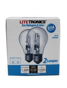 Litetronics Eco Halogen A-Line A19 72w/100w 2 pk Light Bulbs