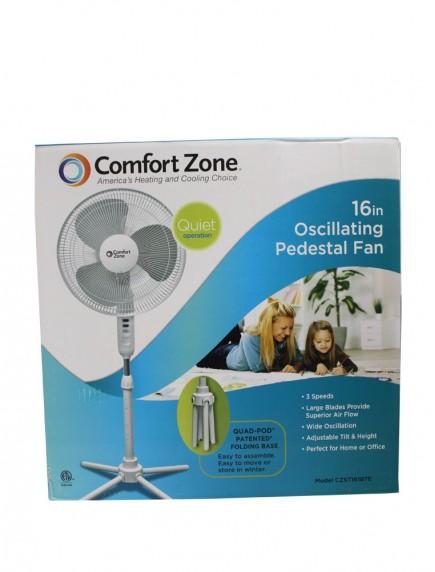"Comfort Zone 16"" Oscillating Pedestal Fan - White"
