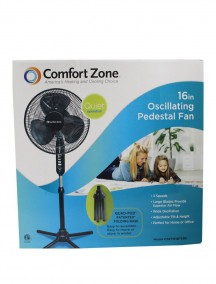 "Comfort Zone 16"" Oscillating Pedestal Fan - Black"