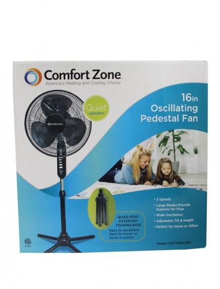 "Comfort Zone 16"" Oscillating Pedestal Fan - Black"