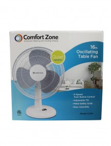 "Comfort Zone 16"" Oscillating Table Fan - White"