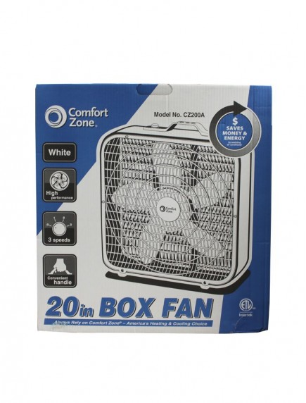 "Comfort Zone 20"" Box Fan - White"