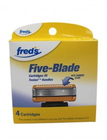 Freds Five Blade Cartridges with Trimmer Blade 4 pk