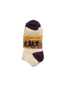 Sport HV Low Cut Socks 3 pk Size 9-11 - White/Purple (Price Per Dozen)
