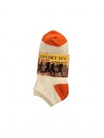 Sport HV Low Cut Socks 3 pk Size 9-11 - White/Orange (Price Per Dozen)