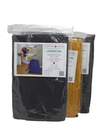 Cotton Laundry Bag with Cinched Top, Drawstring & Stopper - Assorted Colors