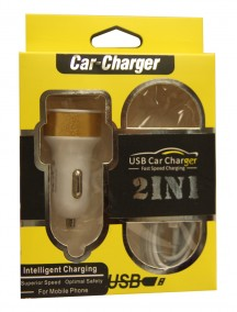 iPhone USB Car Charger 2 in 1 Fast Speed Charging - Compatible with iPhone 5/6 - Assorted Colors