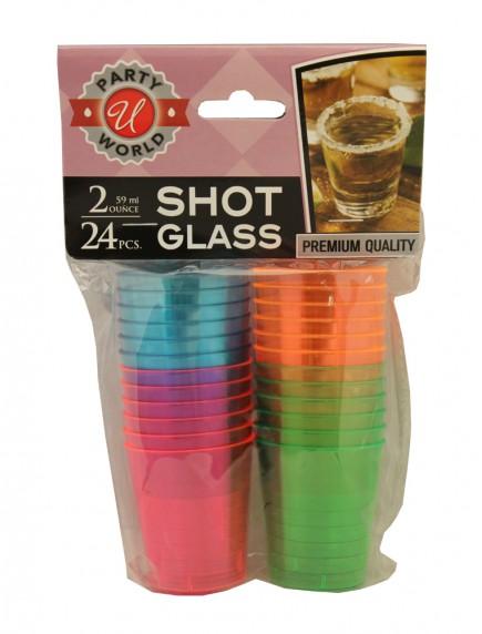 Plastic Shot Glasses 2 oz/24 ct - Assorted Colors