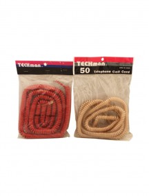 Techman Telephone Coil Cord 50 ft - Assorted Colors