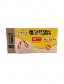 Drawstring White Kitchen Trash Bags 28 ct Value Pack - 13 Gallon