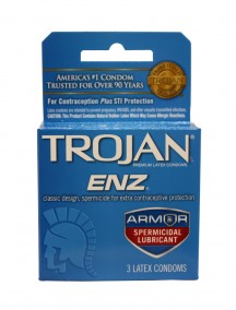 Trojan ENZ Spermicidal Lubricant Latex Condoms 3 ct