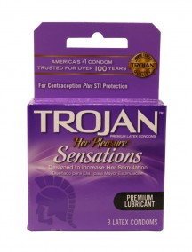 Trojan Her Pleasure Sensations Premium Lubricant Latex Condoms 3 ct