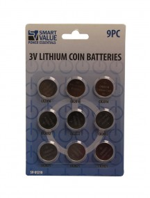 Smart Value 3v Lithium Coin Batteries 9 ct