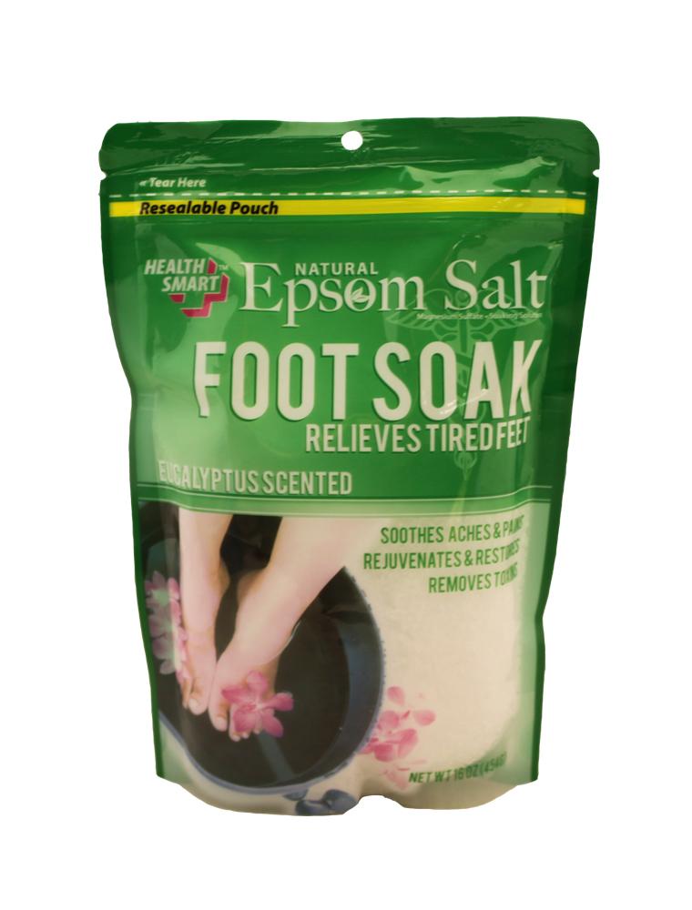 Health Smart Natural Epsom Salt Foot Soak 16 oz Bag - Eucalyptus