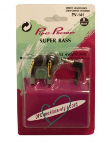 Pipe-Phone Super Bass Stereo Headphones - Black EV-141