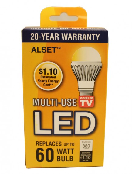 Alset Multi-Use LED LIght Bulb 9.1w Replaces 60w, 880 Lumens, 3000K