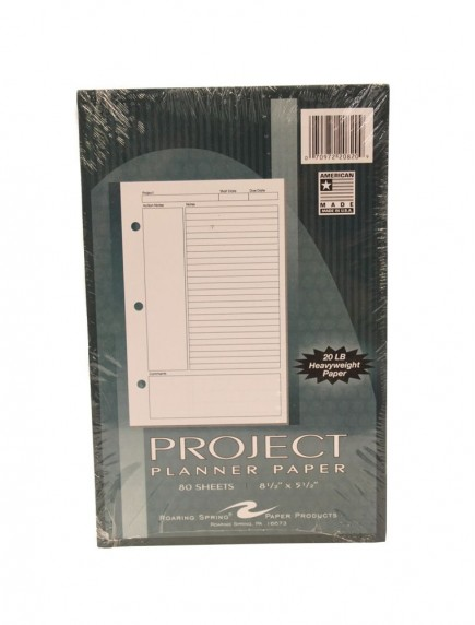 """Project Planner Paper 8 1/2"""" x 5 1/2"""" 80 Sheets"""