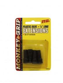 Monkey Grip Plastic Valve 3/4 inch Long Extensions 4 pk Black