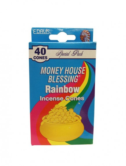 Money House Blessing Incense Cones 40 ct - Rainbow