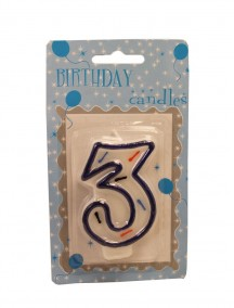 Birthday Number 3 Candle - Blue