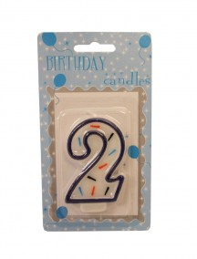 Birthday Number 2 Candle - Blue