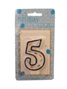 Birthday Number 5 Candle - Blue