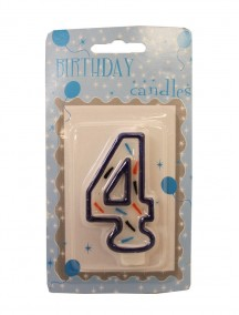 Birthday Candle Number 4 - Blue