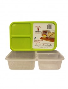 Plastic Food Storage Container with 3 Compartments 60.9 oz