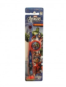 Kids Travel Kit Soft Toothbrush with Cap and Suction Cup Base - Marvel Avengers Assemble