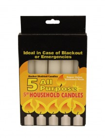 "All Purpose 5"" Household Candles 5 pk - White"