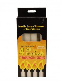 "All Purpose 6"" Household Candles 4 pk - White"