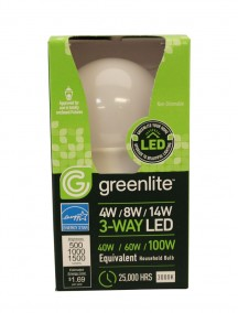 Greenlite 3-Way LED Bulb 4w/8w/14w 1 ct