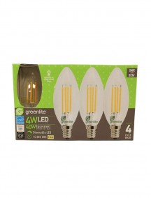 Greenlite Clear Torpedo Filament Style LED B10 Chandelier Bulb Candelabra Base 4w/40w 4 pk