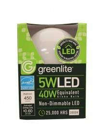 Greenlite LED Globe Bulb 5w/40w 1 ct