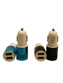 Dual USB Car Charger - Assorted Colors