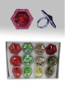 3D Flower Rings 12 ct - Assorted Colors