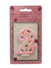 Birthday Candle Number 2 - Pink Outline